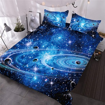 Universe Planet Galaxy 3D Printed 3-Piece Comforter Sets