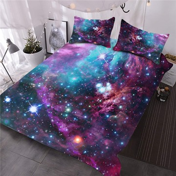 Stars and Multicolored Galaxy Printed 3D 3-Piece Comforter Sets