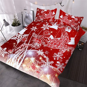Christmas Reindeer and Snowflake Printed 3D 3-Piece Red Comforter Sets
