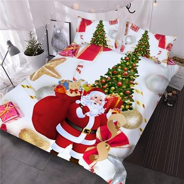 Vivid Santa and Christmas Tree Printed 3-Piece 3D White Comforter Sets