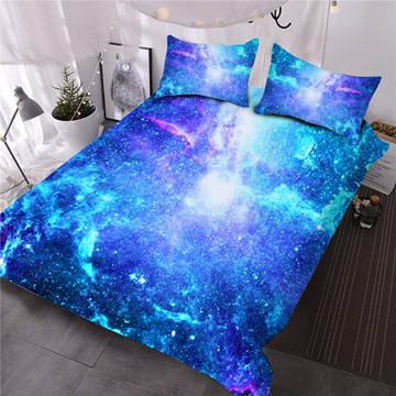 Space Galaxy Printed 3-Piece Fluorescent 3D Blue Comforter Sets