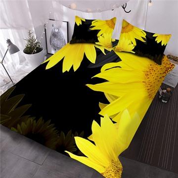 Sunflower Printed 3-Piece Black 3D Comforter Sets