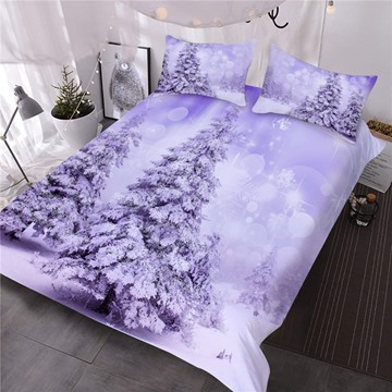 Snowy Trees Printed 3D 3-Piece Comforter Sets