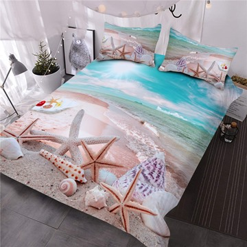 Ocean Starfish Seashells Convenient Cleaning 3D Printed 3-Piece Polyester Soft Comforter Sets
