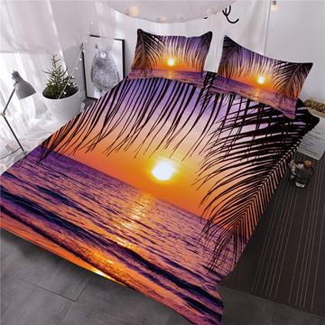 Sea and Sunset Peaceful Purple Digital Printed 3-Piece 3D Comforter Sets