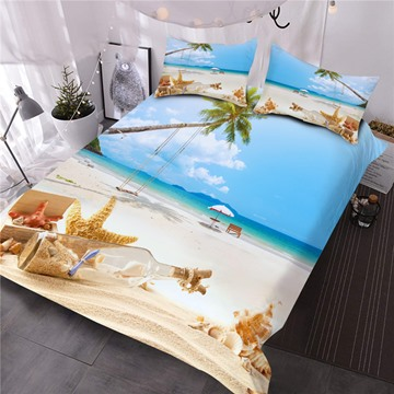 Starfish and Drift Bottle Printed 3-Piece 3D Comforter Sets