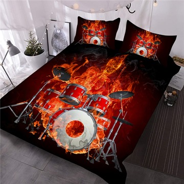 Fiery Skeleton Drummer Printed 3-Piece 3D Comforter Sets