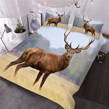 Watching Wapiti Deer Printed 3D 3-Piece Comforter Sets