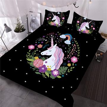 Unicorn Flowers below Rainbow Printed Black 3D 3-Piece Comforter Sets