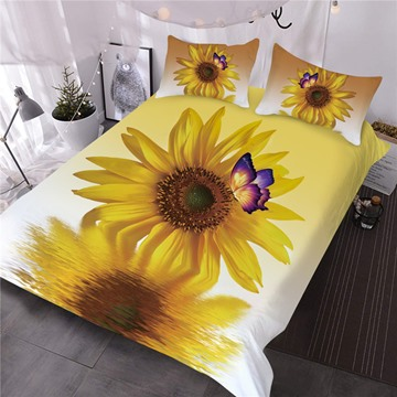 Sunflower Butterfly and Water Printed 3-Piece 3D Comforter Sets