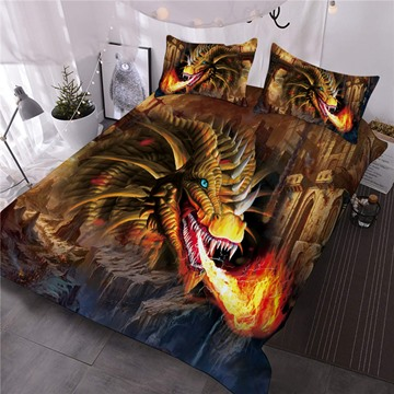 Golden Dragon Spouting Fire Printed 3-Piece 3D Comforter Sets