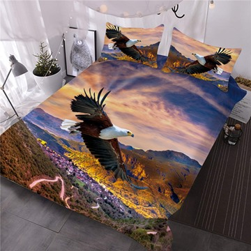 Bald Eagle Flying Over the Mountain Printed 3-Piece 3D Comforter Sets