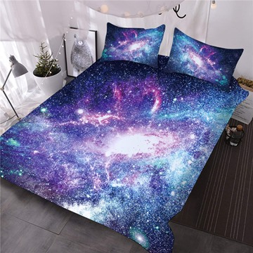 Magic Shining Galaxy Printing Cotton 3D 3-Piece Comforter Sets