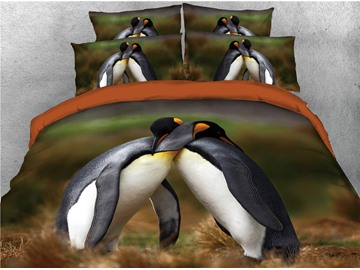 A Hugging Penguin Couple Printed 3D 4-Piece Bedding Sets/Duvet Covers