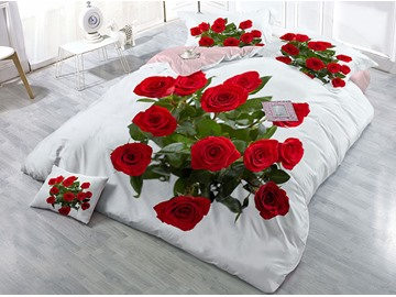Fade Resistant And Fluffy Warm Cotton 4-Piece 3D Roses Printed Bedding Sets