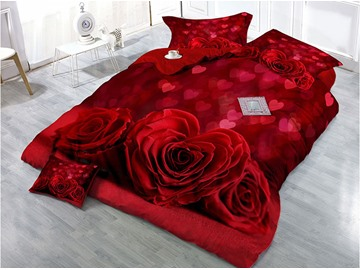 Unfaded Cotton Heart-shaped Hot Red Rose Printed 4-Piece 3D Duvet Covers