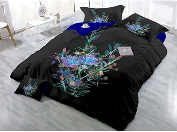 Wrinkle Fade and Stain Resistant Cotton 4-Piece 3D Bedding Sets/Duvet Covers