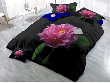 Fade And Wrinkle Resistant Cotton 4-Piece 3D Hot Red Rose Bedding Sets/Duvet Covers