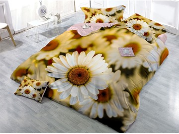 133*74 Fabric Density Cotton 4-Piece 3D Daisy Bedding Sets/Duvet Covers