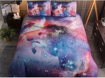 Soft Starry And Unicorn Printed 3-Piece 3D Polyester Bedding Sets/Duvet Covers