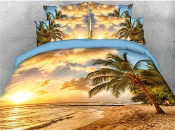 Palm Tree and Beach Seaside Printed 5-Piece 3D Bedding Sets/Comforter Sets