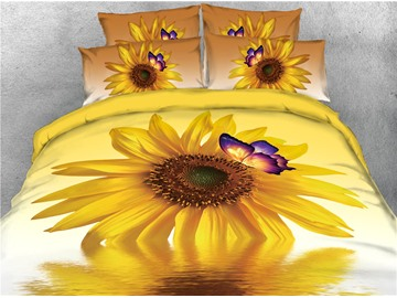 Sunflower Butterfly and Water Printed 5-Piece Bedding Sets/Comforter Sets
