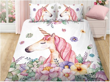 Handle Delicated And Breathable Cute Unicorn Printed 5-Piece Bedding Sets/Duvet Covers