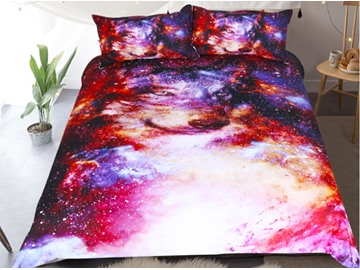 Starry and Wolf Printed Polyester 3-Piece Bedding Sets/Duvet Covers