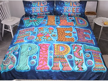 Brilliant Letters And Simple Lover Printed Polyester 3-Piece Bedding Sets/Duvet Covers