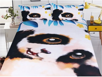 Cute Pande Printed Polyester 3-Piece Bedding Sets/Duvet Covers