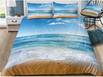 Breathable Quiet Seaside Printed 3-Piece 3D Bedding Sets/Duvet Covers