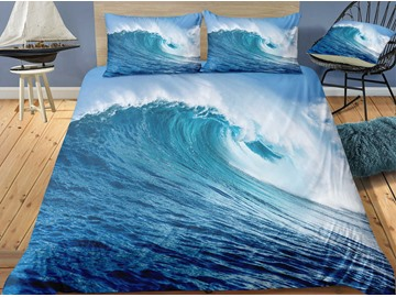 Soft And Comforterable Spectacular Wave Printed 3-Piece 3D Bedding Sets/Duvet Covers