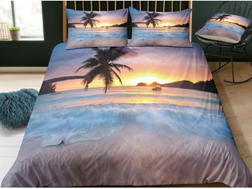 Fade Resistant Pure Seaside With Sunset And Coconut Tree Printed 3-Piece 3D Bedding Sets/Duvet Covers