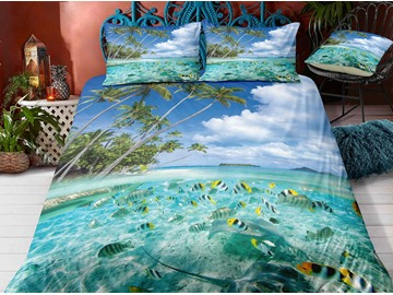 Crease-resistant Sandy Beach And Fishes Printed 3-Piece 3D Bedding Sets/Duvet Covers