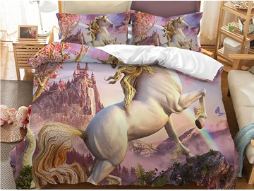 Slap-up Jumping Unocorn Printed 3-Piece Phyester Bedding Sets