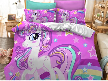 Chic Style Cute Unicorn With Shining Eyes Printed 3-Piece Phyester Bedding Sets