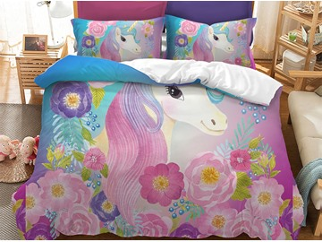 Soft And Comfortable Cute Unicorn And Colorful Flowers Printed 3-Piece Phyester Bedding Sets