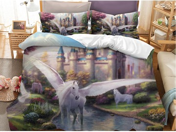 Crease-resistant Spirit White Horse With Wings Printed 3-Piece 3D Phyester Bedding Sets