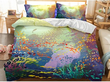 Oil Painting Sense Fishes World Printed 3-Piece 3D Bedding Sets/Duvet Covers