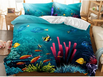 Oil Painting Sensel Sea World Printed 3-Piece 3D Bedding Sets/Duvet Covers