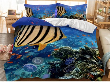 Breathable And Striped Fish Ocean World Printed 3-Piece 3D Polyester Bedding Sets/Duvet Covers