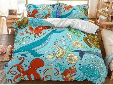Comforter Happy Underwater World Printed 3-Piece 3D Bedding Sets/Duvet Covers