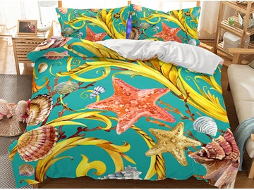 Durable Freehand Sketching Sea World Printed 3-Piece 3D Bedding Sets/Duvet Covers