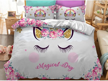 Soft And Comfortable Shy Kitty Printed 3-Piece Phyester Bedding Sets