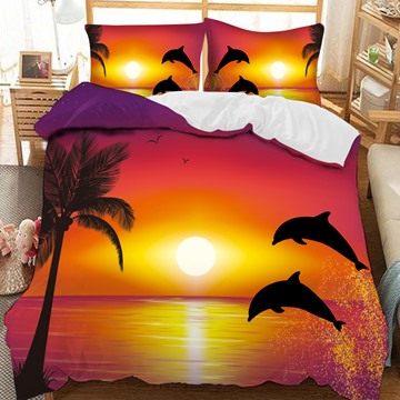 Dolphins Leap Out Of The Lake At Sunset Printed-3-Piece Comforter Sets