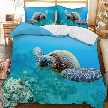 Benthonic Giant Sea Turtle Printed 3-Piece Comforter Sets