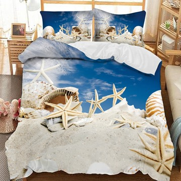 Starfish And Whelks On The Beach Printed 3-Piece Comforter Sets