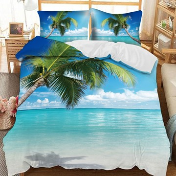 The Coconut Tree By The Blue Sea Of Concise Style Printed 3-Piece Comforter Sets