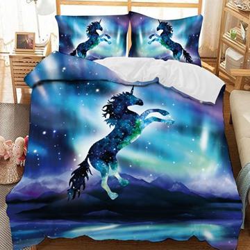 Galactic Blue And Purple Unicorn Printed 3-Piece Comforter Sets