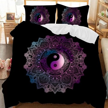 The Black-Purple National Style Eight Diagrams Printed 3-Piece Comforter Sets